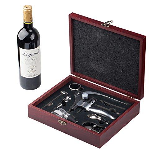 Set cavatappi Apri bottiglia Vino Pop Idee regalo originali Set con 4 accessori vino per aprire bottiglie e versare Cavatappi professionale