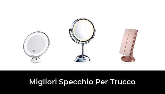 Specchio di Vanity Trifold Ruota di 180/° Ingrandimento 1x 2X 3X Specchio per Il con Touchscreen per Il Trucco e la Cura della Pelle deweisn Specchio Trucco con 21 LEDs Bianco